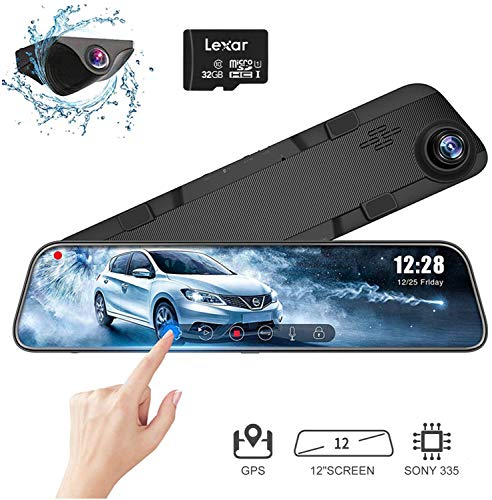 WOLFBOX 12'' 1296P Mirror Dash Cam Front and Rear Backup Camera,G-Sensor,Parking Assitance and Night Vision with Sony Full Touch Screen Driving Recorder for Cars/Trucks,Free GPS & 32G Card