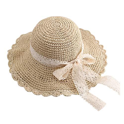 TENDYCOCO Sombrero para El Sol para Mujer Sombrero de Paja de ala Ancha Empacable con Sombrero de Playa de Encaje con Sombrero Tejido con Lazo Sombrero de Mimbre