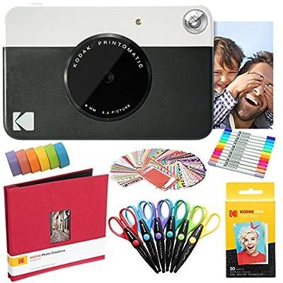 KODAK Printomatic Instant Camera Art Bundle + Zink Paper (20 Sheets) + 8x8 Cloth Scrapbook + 12 Twin Tip Markers + 100 Border Stickers + 6 Decorative Scissors + Washi Tape from Kodak