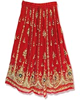 RADHY KRISHNA FASHIONS RED Yoga Trendz Women's Sequined Crinkle Broomstick Gypsy Long Skirt