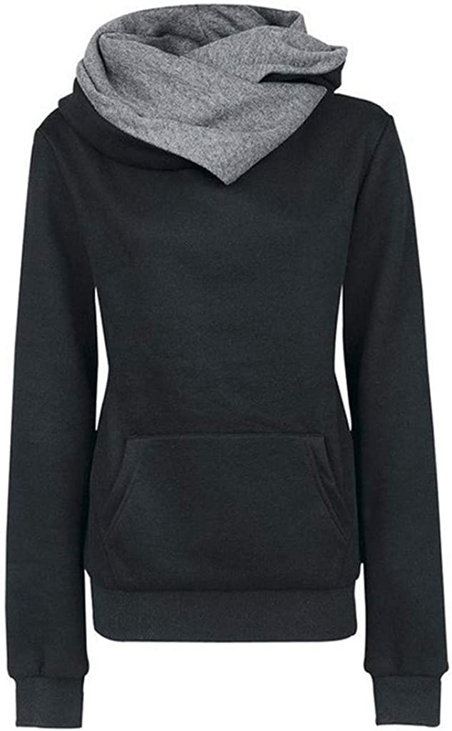 Portazai Hoodie Sweatshirts for Women Long Sleeve Pure Color Blouse Shirts Women's Casual Loose Pullover Tunic Tops Black