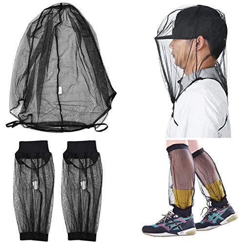 Moskitonetz Kopfschutz Beinschutz, Anti Moskito Kopfnetz Gesichtsschutz Mückennetz Insektenschutznetz feinste Löcher, Outdoor Mückenschutz Nackenschutz mit Tasche für Angeln/Camping/Naturliebhaber