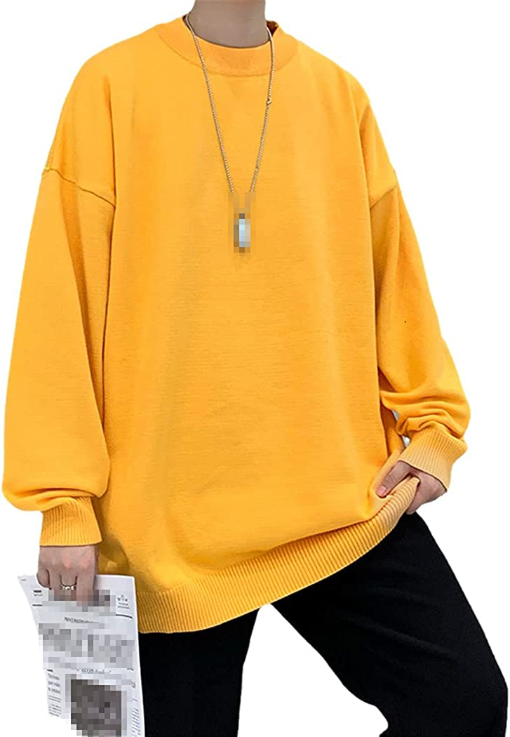 LOIUYBM Men's Oversized Sweaters Autumn Winter Knitted Sweater Solid Casual Long Sleeve O Neck Pullovers