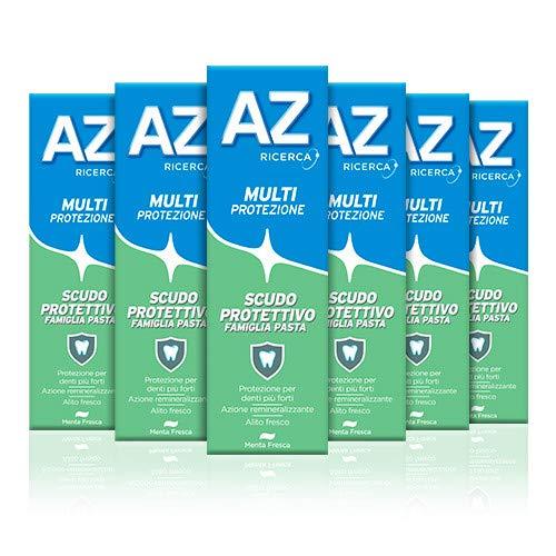 AZ Dentifricio Multi Protezione Scudo Protettivo 6 x 75ml, Dentifricio al Fluoro per Adulti e Bambini
