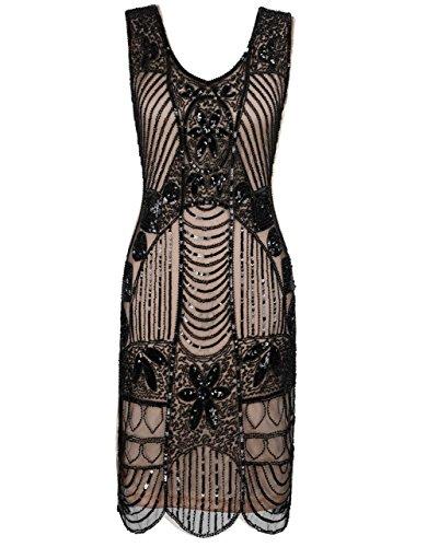 kayamiya Damen Retro 1920er Perlen Pailletten Blatt Art Deco Gatsby Flapper Kleid XXL Schwarz Beige