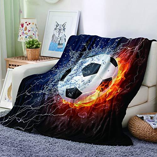 Chickwin Flanelldecke Kuscheldecke, Fußball Super Soft Weiche Wohndecke Warm Flauschige Decke TV-Decke Mikrofaserdecke Sofadecke oder Bettüberwurf Tagesdecke (Wasser Feuer,160x200cm)
