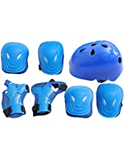 BESPORTBLE 7pcs Kids Protective Gear Set Kids Knee Pads Elbow Pads Wrist Guards Helmet Toddler Protection Gear for Roller Skates Cycling Skatings