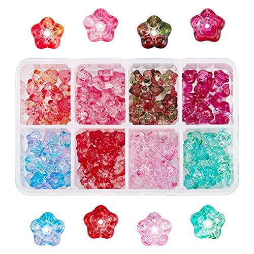 PandaHall Cuentas de cristal de 8 colores, 160 piezas de 8 mm de trompeta de cristal a granel de campana, cuentas espaciadoras para proyectos de bricolaje, pulseras, collares, pendientes