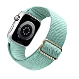 Arae Stretchy Nylon Apple Watch Band Compatible with Apple Watch Series 6 5 4 SE 44mm 40mm and Series 3 42mm 38mm Adjustable Solo Loop Sport Elastic Watch Band Strap for Men Women-Green, 42/44mm
