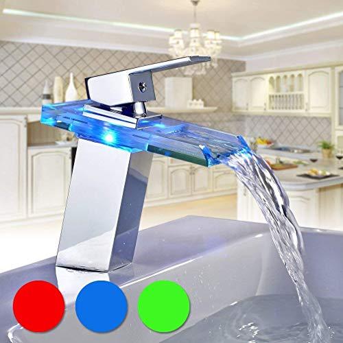 BONADE Armatur Waschtischarmatur LED RGB Farbewechsel Glas Wasserfall Auslauf Wasserhahn Badarmatur Mischbatterie für Bad/Badezimmer Waschbecken