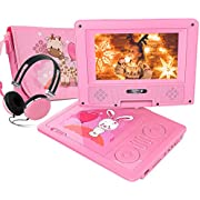 "NIRVASENSE 7.5"" Portable DVD Player with Headphone, Carring Case, Swivel Screen, 5 Hours Rechargeable Battery, SD Card Slot and USB Port (Pink)"
