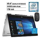 2020 Dell Inspiron 14 5482 14 Inch FHD 2-in-1 Touchscreen Laptop (8th Gen Intel Quad Core i7-8565U, 16GB RAM, 1TB SSD, Backlit Keyboard, Windows 10) + NexiGo Wireless Mouse Bundle (Renewed)