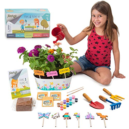 AVERGO Kids Gardening Kit- Plant Kit w/Gardening Tools for Kids, 12 Paints, Planter, Flower Seeds- Unique Kids Crafts Kit– Flower Growing Kit– Unique Science and Garden Gift for Girls & Boys Age 6+