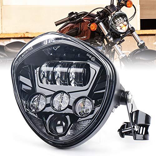 MOVOTOR 7インチ LEDヘッドライト ブラケット付き 最新型V型 Hi/Lo切り替え デイライトDRL機能付き ハーレーヘッドライト ホンダヘッドライト汎用