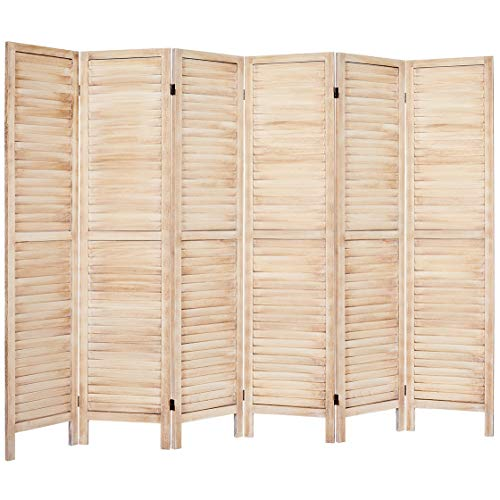 Rose Home Fashion 5.6 Ft Tall Wood Louvered Room Divider Solid Wood Folding Room Divider Screens Panel Divider & Room Dividers Room Dividers and Folding Privacy Screens (6 Panel, Cream)