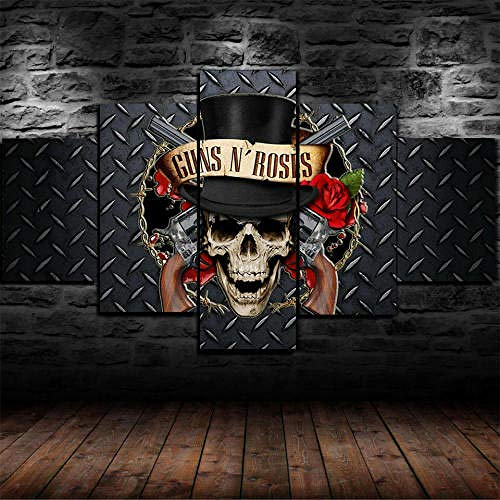 Cuadro Sobre Lienzo 5 Piezas Impresión En Lienzo Ancho: 150Cm, Altura: 100Cm Listo Para Colgar-Banda De Guns N 'Roses En Un Marco