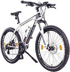 """NCM Prague Bicicleta eléctrica de montaña, 250W, Batería 36V 13Ah 468Wh (Blanco 26"""")"""
