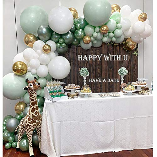 Balloon Garland Kit Green White Gold&Green Chrome Balloon Arch Wedding Bridal Shower Birthday Party Baby Shower Decoration