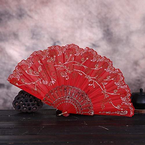 LXTIN Abanico Plegable, abanicos de Mano de Seda de Encaje, abanicos Grandes Chinos japoneses para Fiestas de Baile, Regalos de Boda, decoración de Bricolaje, Decoraciones para el hogar