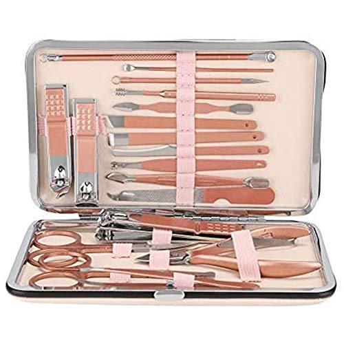 Yiyu 18 Stück/Set High-End-Pflege-Maniküre-Kit, Edelstahl-Maniküre-Pediküre-Nagelknipser-Set Nagelpflege-Kit-Werkzeug Für Unterwegs Oder Zu Hause x (Color : Pink)