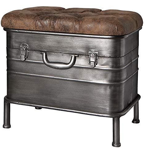 Haku Möbel Bank - Sitztruhe aus Stahl grau lackiert - gepolsterte Sitzfläche Breite 51 cm