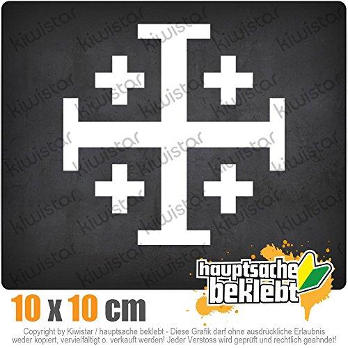 KIWISTAR Jerusalemkreuz 10 x 10 cm IN 15 FARBEN - Neon + Chrom! Sticker Aufkleber