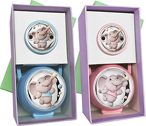 Regalos Más de Más - Conjunto de Pinza de Chupete con cadena y Portachupetes con Aplique Bilaminado en Plata de Ley 925‰'Elefante'. Disponible en color Azul y Rosa. (Azul)