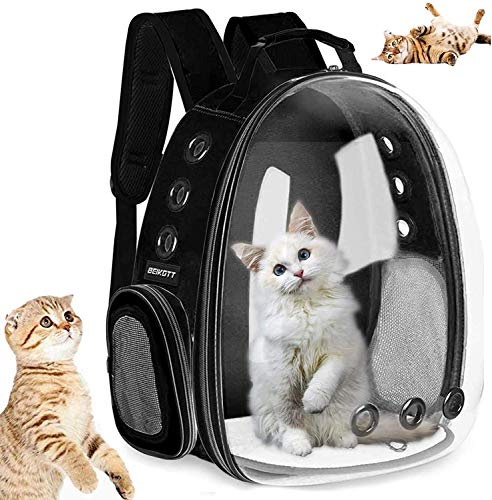 AOPUTTRIVER Cat Backpack Carrier, Bubble Backpack Carrier, Small Dog Backpack Carrier, Space Capsule Pet Carrier, Airline Approved Travel Carrier, Designed for Travel, Hiking & Outdoor Use(Black