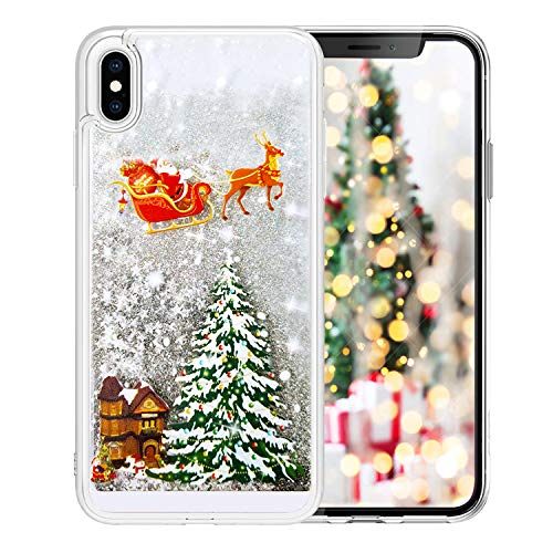 Fusicase for iPhone XR Liquid Case Christmas Case Style Christmas Tree Rudolph Pattern Flowing Liquid Floating Luxury Bling Glitter Sparkle Case Cover for iPhone XR