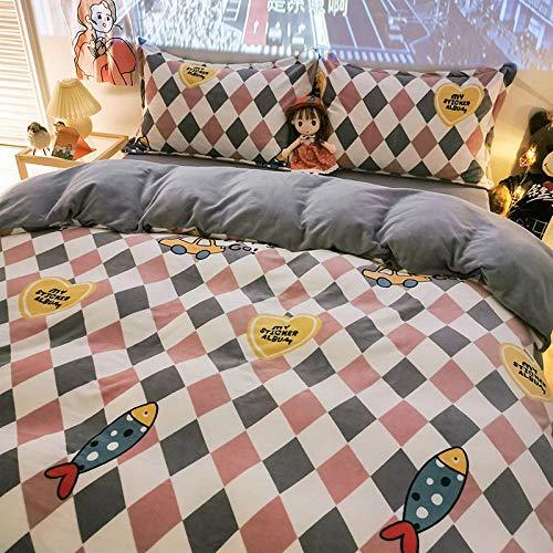 juegos de sábanas de 90-Invierno de doble cara de terciopelo de leche cómoda ropa de cama reversible hoja de franela funda de edredón funda de almohada regalo de hotel familiar-segundo_Cama de 1,8 m
