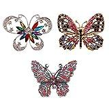 DTWAWA 3 Pieza Broche de Mariposa Broche de Diamantes de Imitación Regalo de Mujer