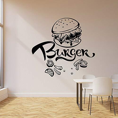 Calcomanía de pared de hamburguesa, comida rápida, cafetería, restaurante, decoración, vinilo, guardería, habitación de los niños, pegatinas de pared Interior A4 60x57cm