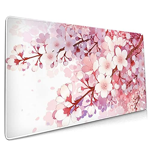 Japanese Pink Sakura Extended Mouse Pad 35.4x15.7 Inch XXL Cherry Blossom Flower Floral Non-Slip Rubber Base Large Gaming Mousepad Stitched Edges Waterproof Keyboard Mouse Desk Pad for Office Home