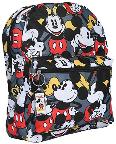Disney Mickey Mouse 16' Backpack Bag AOP & Keychain - 2 Piece Set (Mickey)