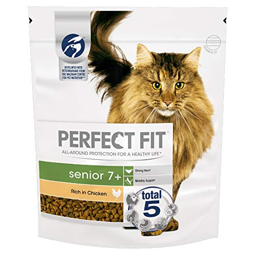 Perfect Fit Senior 7+ - Complete Dry Food for Senior Cats From 7 Years Old, Rich in Chicken, 3 Packs of 750 g