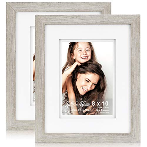LaVie Home 8x10 Inch Picture Frame(2 Pack, Light Beige) with 5x7 Inch Double White Mat Opening for Wall Mounting, Set of Galerie Collection