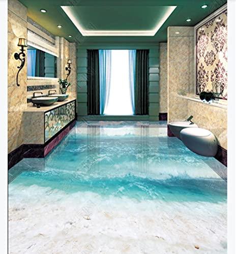 Pegatinas para azulejos de suelo, suelo de vinilo, hermosa playa, mar, baño, baldosa 3D, 300 * 210 cm, sala de estar, cocina, baño