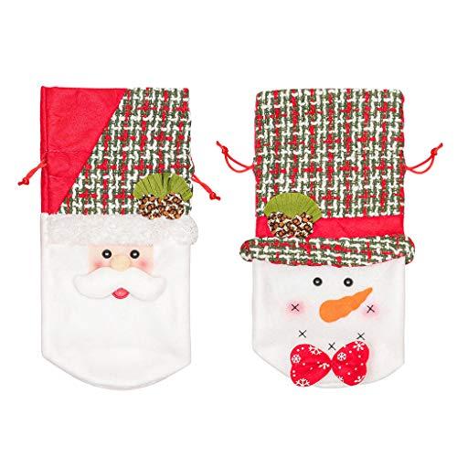 WEDFTGF - Bolsas para botella de vino tinto con cordón de Navidad, diseño de muñeco de nieve