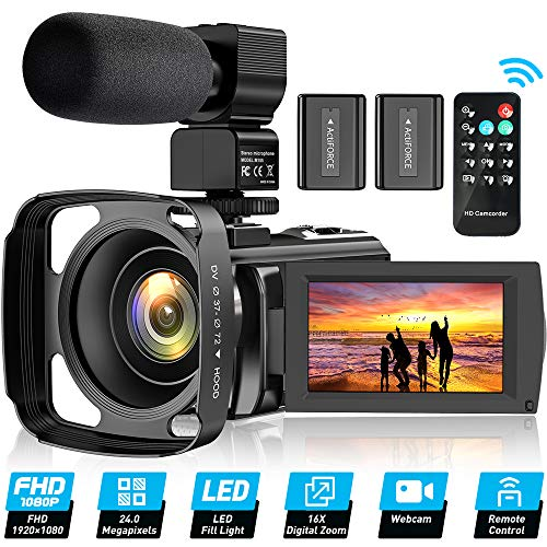 Video Camera Camcorder for YouTube, FHD 1080P 30FPS 24MP Digital Vlogging Camera 16X Digital Zoom 3.0 Inch 270° Rotation Screen Video Recorder with...