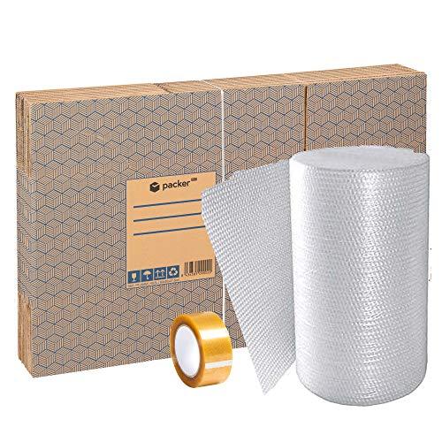 Pack Mudanza con Cajas Carton Mudanza, Cinta Adhesiva, Plastico Burbujas Embalaje, Rotulador Permanente y Cutter Profesional  ...