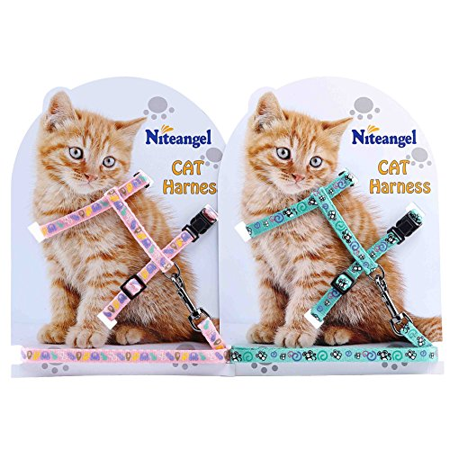 Niteangel 2-Pack of Adjustable Cat Harness & Leash