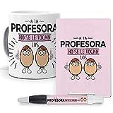 Pack Original y Personalizado para Regalo de Trabajos y Profesiones. A la Profesora no se tocan los Huevos. Libreta, boligrafo y Taza Maxima Calidad.