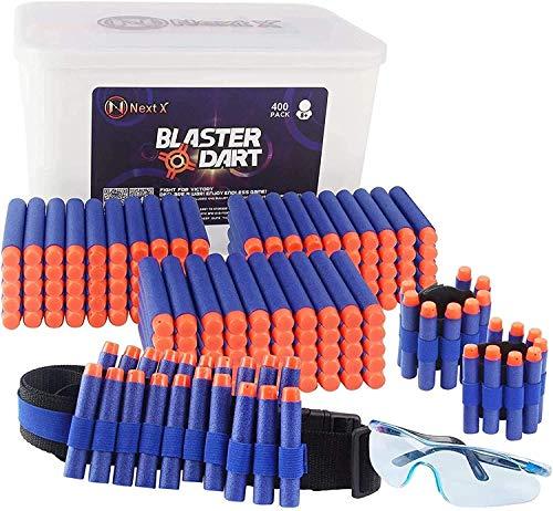 NextX Pfeile Darts 400 Stück für Nerf Zubehör 7.2cm Pfeile 400 Stück Armband 2 Stück Schutzbrille und Schultergurt Refill Bullets Darts für N-Strike Elite Blasters Nerf Gun
