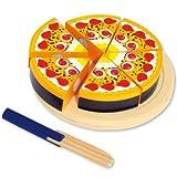 #11 Kaufladenzubehör Erdbeer Kuchen aus Holz mit Messer und Klettverschluss zum Schneiden - Torte Kinderküche Spielküche Spielzeug Küche Kaufladen Kaufmannsladen-Zubehör