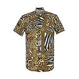 Mens Snakeskin Leopard Zebra Creative Animal 3D Printing Shirt Funny Graphic Short Sleeve Shirts Yellow