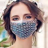 LEJIA Máscara de Diamantes de imitación de Malla, Diamantes máscara Facial,...