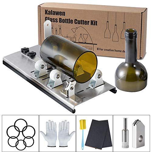 Kalawen Glasschneider für Flaschen Edelstahl Flaschenschneider 5 Verstellbares Rad Glasschneider Bottle Cutter Kit zur DIY Flaschen Pflanzmaschinen Kronleuchter aus Glas Kerzenständer
