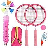 Herefun Raquetas Badminton Niños, Set de Bádminton para Niños, Raqueta de Juguete Deportivo Bádminton con 2 Raquetas de bádminton y 16 Volantes, Juego de Deportes de Playa al Aire Libre (Rosa)
