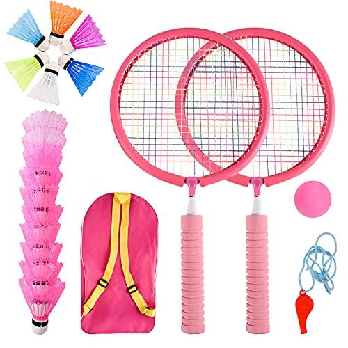 Herefun Raquetas Badminton Niños  Set de Bádminton para Niños  Raqueta de Juguete Deportivo Bádminton con 2 Raquetas de bádminton y 16 Volantes  Juego de Deportes de Playa al Aire Libre (Rosa)