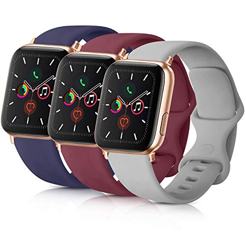 Pack 3 Compatible with Apple Watch Band 44mm Series 4, Soft Silicone Band Compatible iWatch Series 4, Series 3, Series 2, Series 1 (Navy Blue/Wine Red/Gray, 42mm/44mm-S/M)